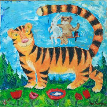 Год Тигры, 90х90 холс, масло, 2009